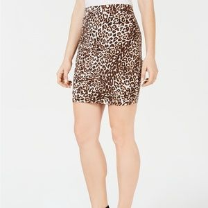Guess Tamie Ruched Skirt Leopard print above knee